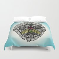 skulls Duvet Covers featuring skulls by Hanan Azran