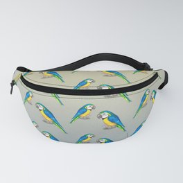 Blue and yellow macaw watercolor Fanny Pack