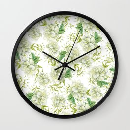 Elegant white green hand painted watercolor floral Wall Clock