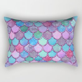 Colorful Pink Glitter Mermaid Scales Rectangular Pillow