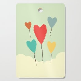 Heart Balloons above the Clouds Cutting Board
