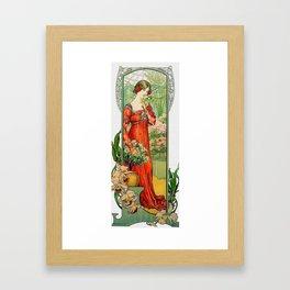 Vintage Art Nouveau Painting - Brunette with Florals Framed Art Print