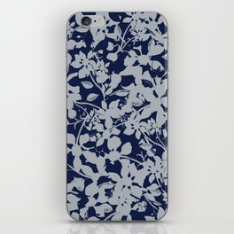 Blue and Grey Floral Pattern - Broken but Flourishing iPhone Skin