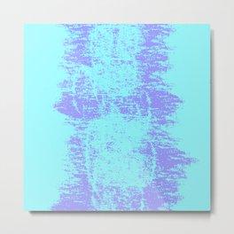 Neon Blue and Lavender Rough Splatter Paint Textured Pattern, Unisex Home Goods Metal Print