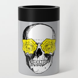 Skull and Roses | Grey and Yellow Can Cooler