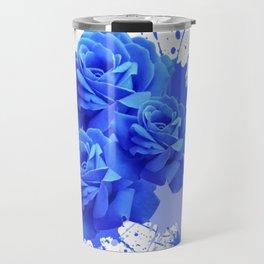 MODERN ART  BLUE ROSE PATTERN WATERCOLOR SPLATTER Travel Mug