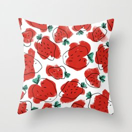 Modern Artsy Watercolor Red Mint Green Black Strawberries Throw Pillow