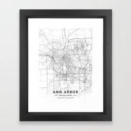 Ann Arbor, United States - Light Map Framed Art Print