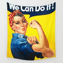 Rosie The Riveter Vintage Women Empower Women's Rights Sexual Harassment Wall Tapestry