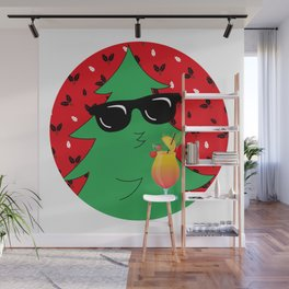 Funny Christmas Tree Drinking Cocktail Wall Mural