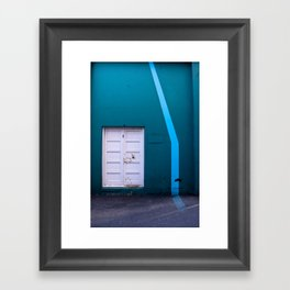 White Door Blue Wall Framed Art Print
