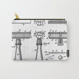 Razor Patent - Barber Art - Black And White Carry-All Pouch