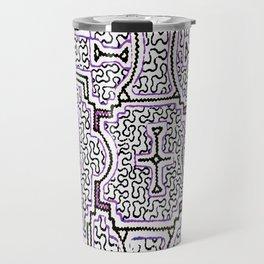Song to Support Good Health - Traditional Shipibo Art - Indigenous Ayahuasca Patterns Travel Mug