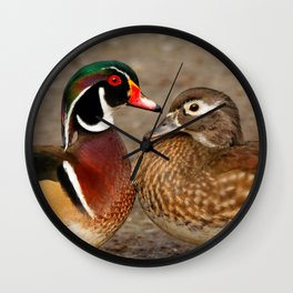 A Touching Moment Between Wood Duck Lovebirds Wall Clock