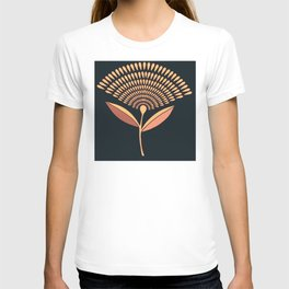 Mid Century Modern Dandelion Seed Head In Coral and Pink T-shirt