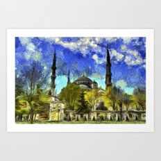 Blue Mosque Istanbul Van Gogh Art Print