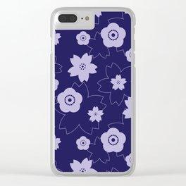 Sakura blossom - midnight blue Clear iPhone Case
