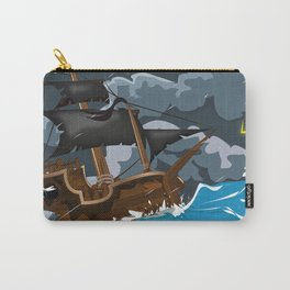 Pirate Ship in Stormy Ocean Carry-All Pouch