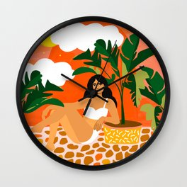 Life With Banana Trees, Tropical Bohermian Woman Nude Illustration, Fashion Colorful Eclectic Bold Wall Clock