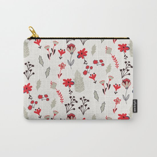 Red Vintage Floral Pattern Carry-All Pouch