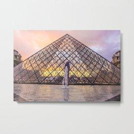 Louvre Lovely Sunset Metal Print