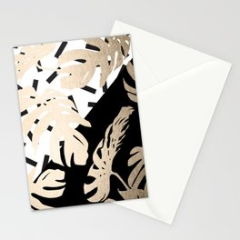 Simply Tropical Midnight Black Memphis Palm Leaves Stationery Cards