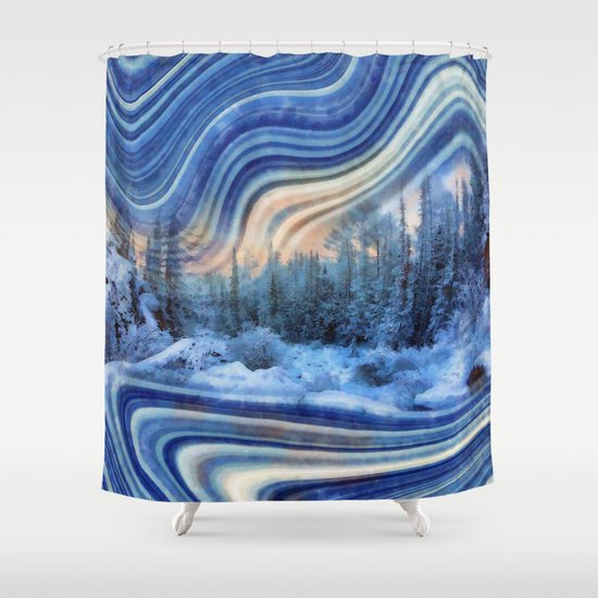 Surreal winter forest Shower Curtain