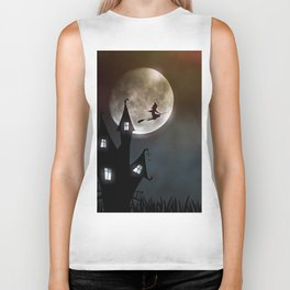 Drawing of a witch leaving her house on a broom in front of a full moon Biker Tank