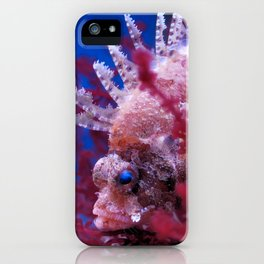 Lionfish (Dendrochirus brachypterus) in a red seaweed, blue background iPhone Case