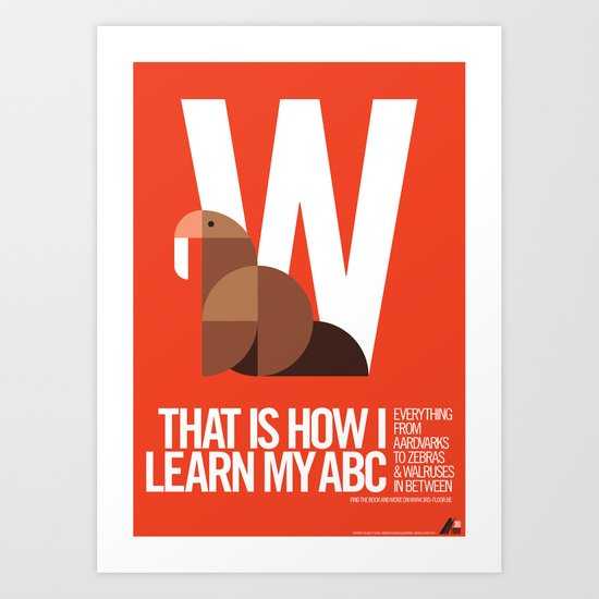 Animal Alphabet W Art Print