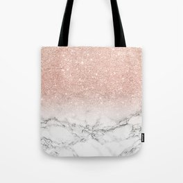 Modern faux rose gold pink glitter ombre white marble Tote Bag