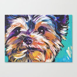Fun Yorkie Dog Portrait bright colorful Pop Art Painting by LEA Canvas Print