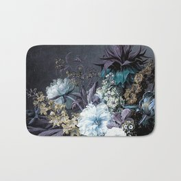 Taupe Turquoise Text Classic Floral Bath Mat