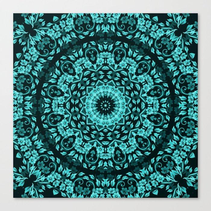 Teal Turquoise Floral Mandala Canvas Print