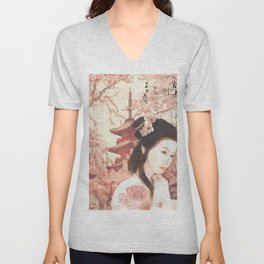 Asian Rose Unisex V-Neck