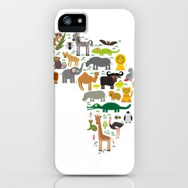 map of Africa: parrot Hyena Rhinoceros Zebra Hippopotamus Crocodile Turtle Elephant Mamba snake iPhone Case