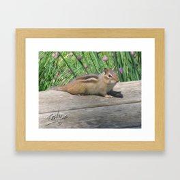 Chipmunk and Chives Framed Art Print