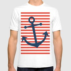 Nautical Anchor MEDIUM Mens Fitted Tee White