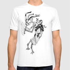 Steampunk Kokopelli Original Pen and Ink Design White Mens Fitted Tee MEDIUM