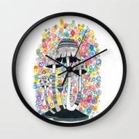 mushrooms Wall Clocks featuring Mushrooms by Asja Boros