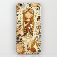 brown iPhone & iPod Skins featuring The Queen of Pentacles by Teagan White
