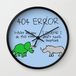 404 Error (Triceratops and Rhino) Wall Clock