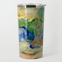 "Franz Marc ""Horses at Pasture (also known as Horses in a Landscape)"" Travel Mug"