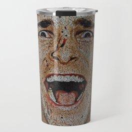 Text Portrait of Patrick Bateman with full script of American Psycho. Travel Mug