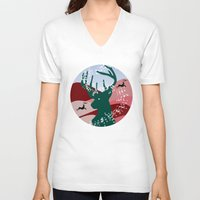 merry christmas V-neck T-shirts featuring merry christmas by mark ashkenazi