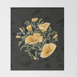 California Poppies on Charcoal Black Throw Blanket