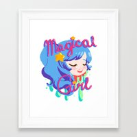 magical girl Framed Art Prints featuring Magical Girl by Ferret Party