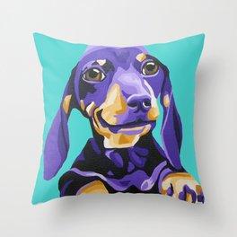 Purple Dachshund Pet Portrait on Turquoise Throw Pillow