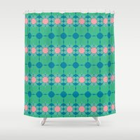 70s Shower Curtains featuring 70s Summer Blue by Honeybelle