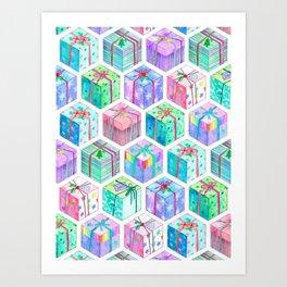 Christmas Gift Hexagons Art Print